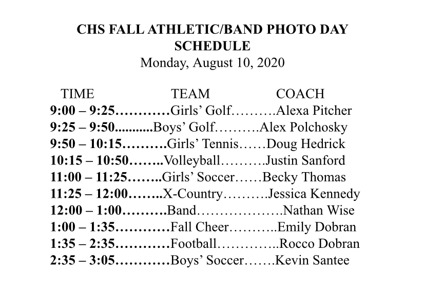 Fall sports/band picture day schedule